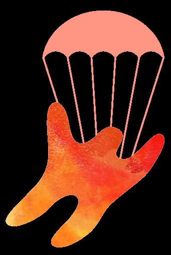 Illustration av färgglad gubbe som hoppar fallskärm
