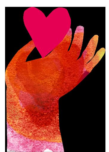 Illustration av hand som håller hjärta