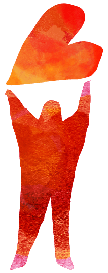 Illustration av persn som håller upp ett hjärta över huvudet på raka armar