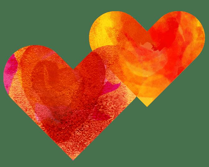 Två illustrerade hjärtan